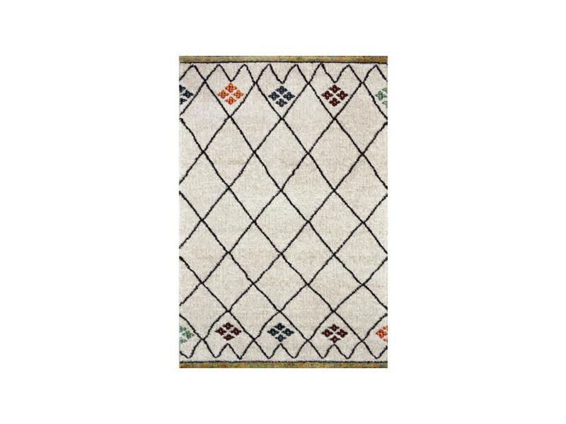 touareg tapis de couloir style berbere 80 x 300 cm 100 polypropylene beige creme et multicolore