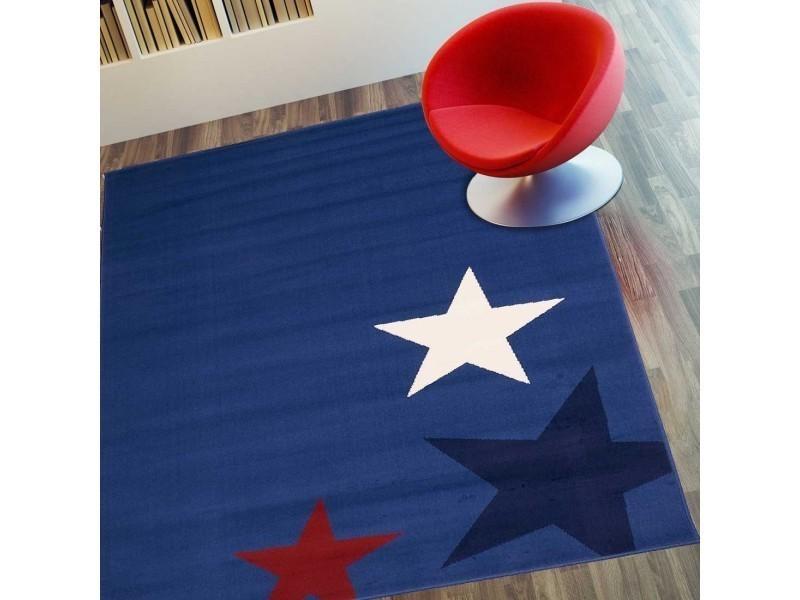 tapis chambre enfant star bleu 80 x 150 cm fabrique en europe tapis de salon moderne design par unamourdetapis