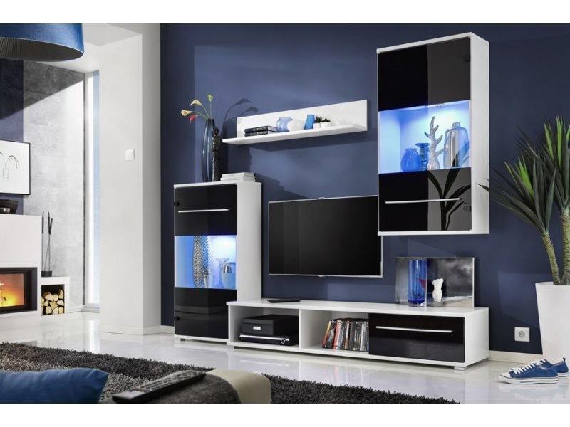 carmi unite murale style contemporain 4 pcs eclairage led inclus mur tv ensembles meubles salon sejour meuble bas tv noir blanc
