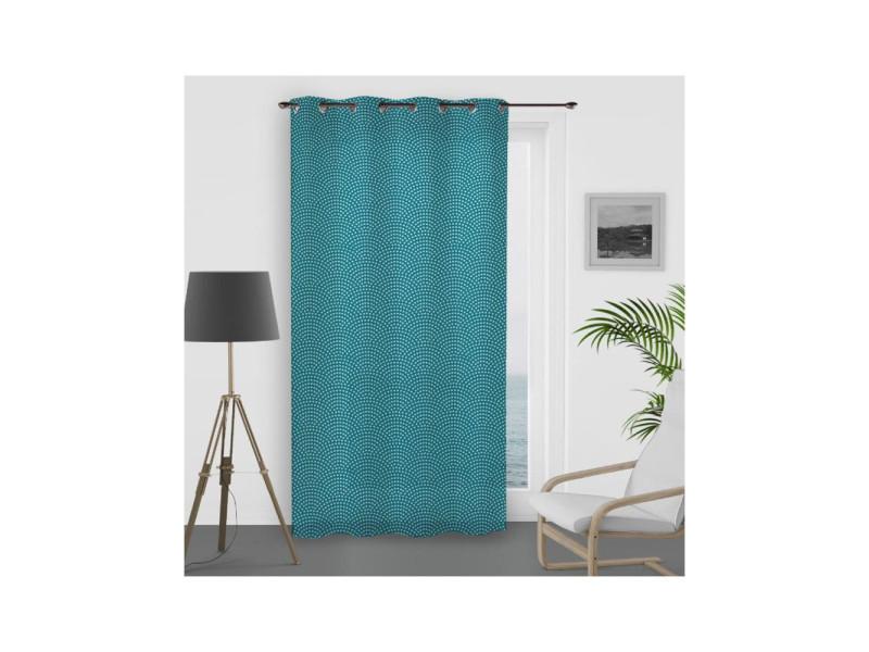 rideau bleu paon