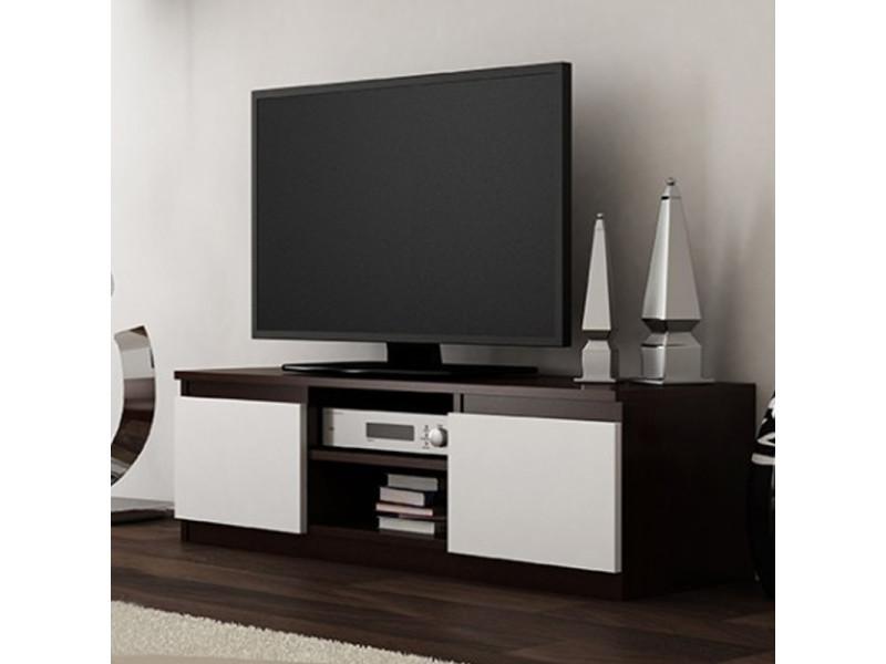meuble tv banc tv clino 120 cm effet wenge blanc style contemporain