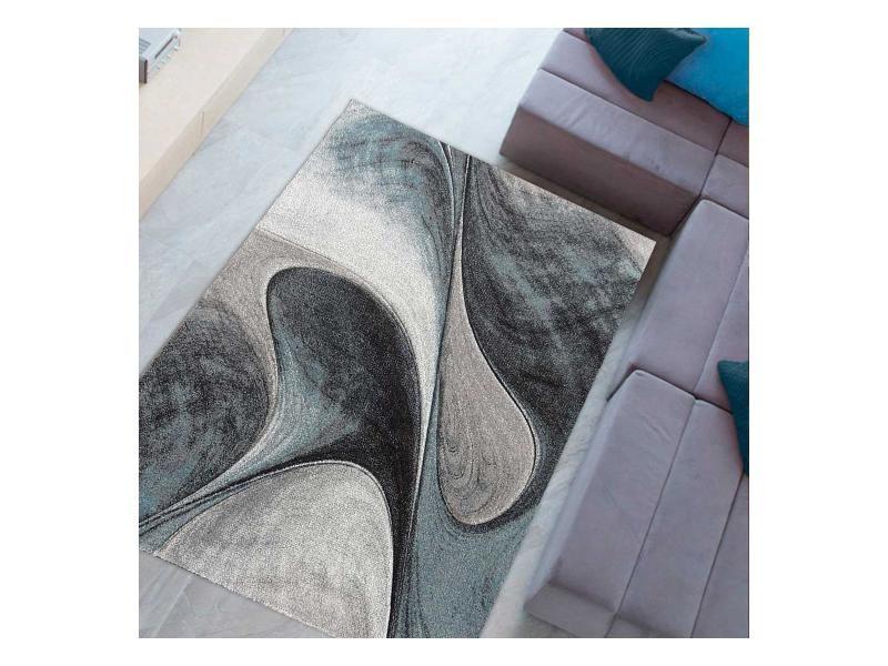 tapis design et moderne 120x120 cm rond garca bleu salon adapte au chauffage par le sol