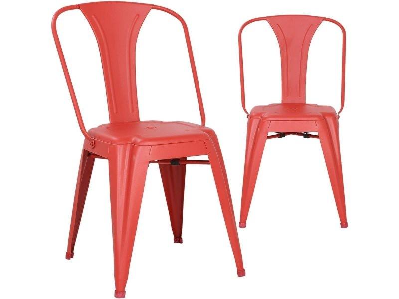 lot de 2 chaises bistrot chaise metal industriel brook rouge
