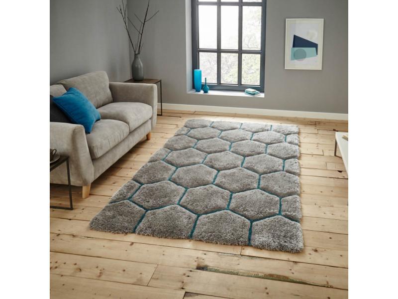 tapis shaggy epais honeycomb en relief gris vert celadon 120 x 170 cm