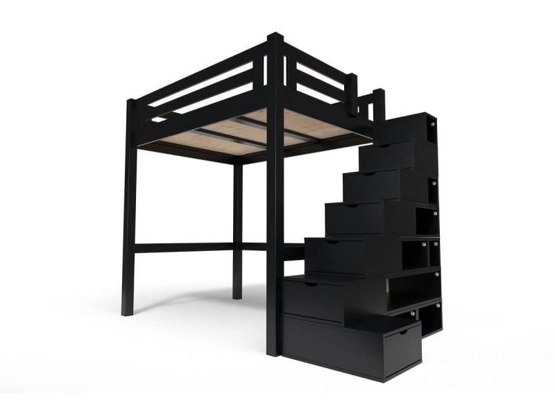 lit mezzanine alpage bois escalier cube hauteur reglable 140x200 noir
