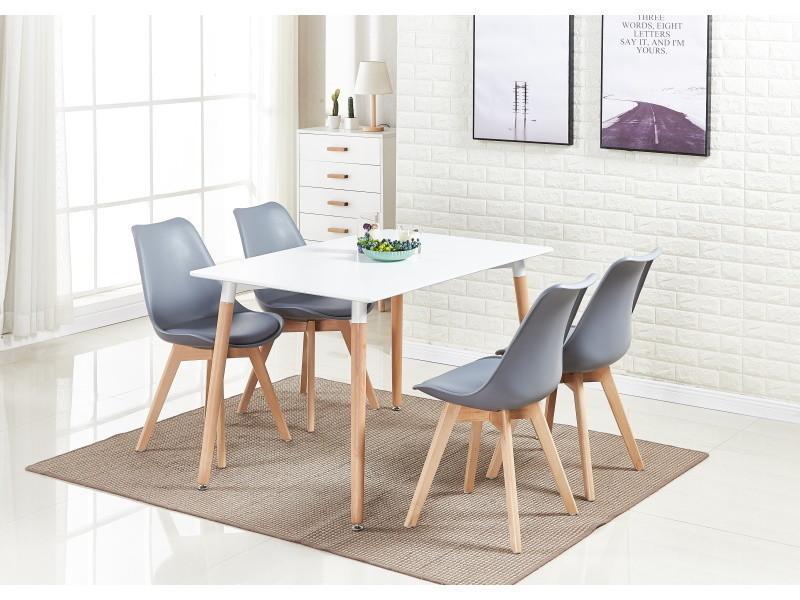 ensemble salle a manger moderne lorenzo table blanche 4 chaises grises design scandinave