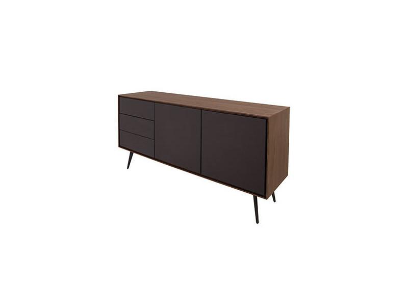 meuble bas 2 portes 3 tiroirs gris mat et plaque noyer artic