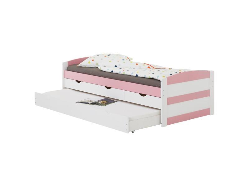 lit gigogne jessy fonctionnel avec tiroir lit et rangements 3 tiroirs couchage 90 x 200 cm pin massif lasure blanc rose