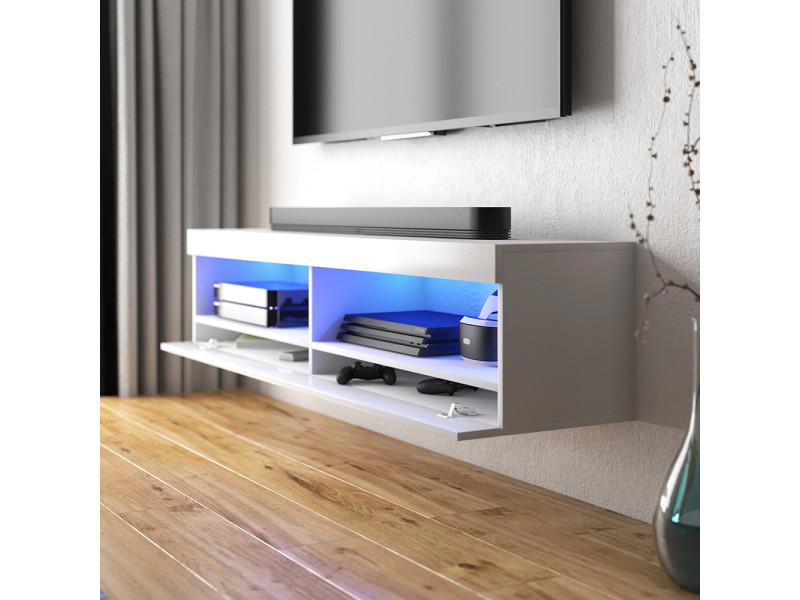 meuble tv viansola 100 cm blanc mat blanc brillant eclairage led