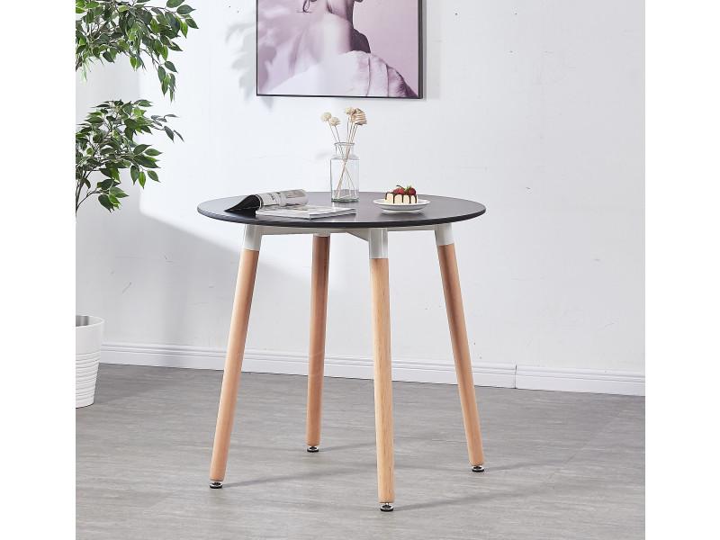 table a manger ronde noire style scandinave 4 personnes style moderne contemporain cuisine ou salle a manger