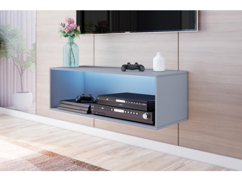 meuble tv suspendu larka 100 cm gris led
