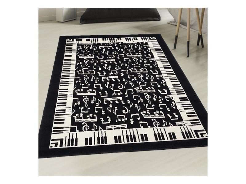 tapis moderne 160x230 cm rectangulaire af melomania noir salon adapte au chauffage par le sol