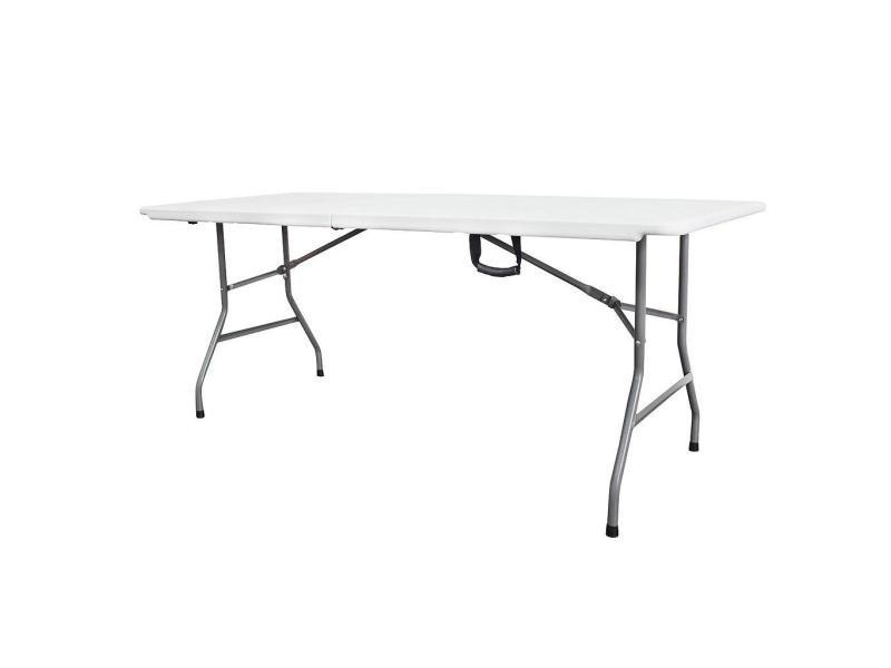 table pliante transportable table en plastique robuste 180 x 74 cm blanc pliable en deux materiau hdpe