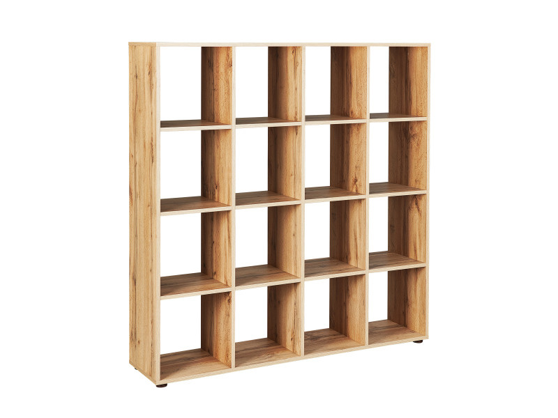 etagere de separation bibliotheque fsc damian 16 cases decor chene