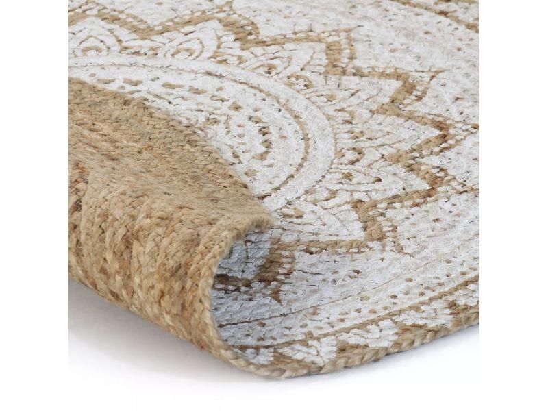 vidaxl tapis jute tresse imprime 120 cm rond