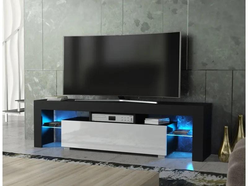 meuble tv spider a led en noir mat avec porte blanc laque 160 cm