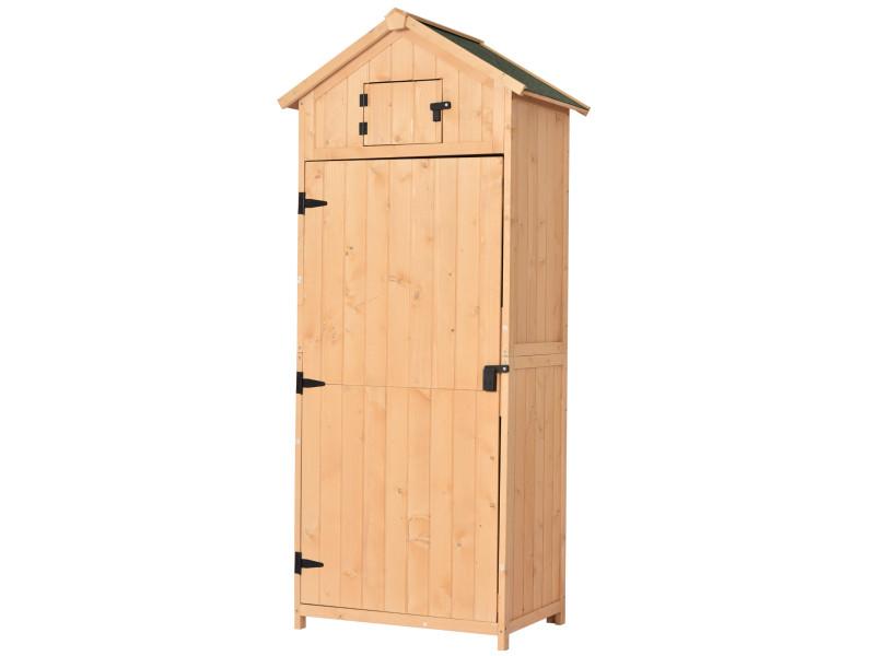 armoire abri de jardin remise pour outils 3 etageres 2 porte loquets toit pente bitume 77l x 54l x 179h cm pin massif traite