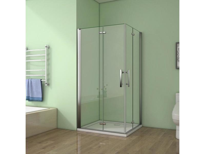aica cabine de douche 120x120x185cm verre anticalcaire porte pliante et pivotante