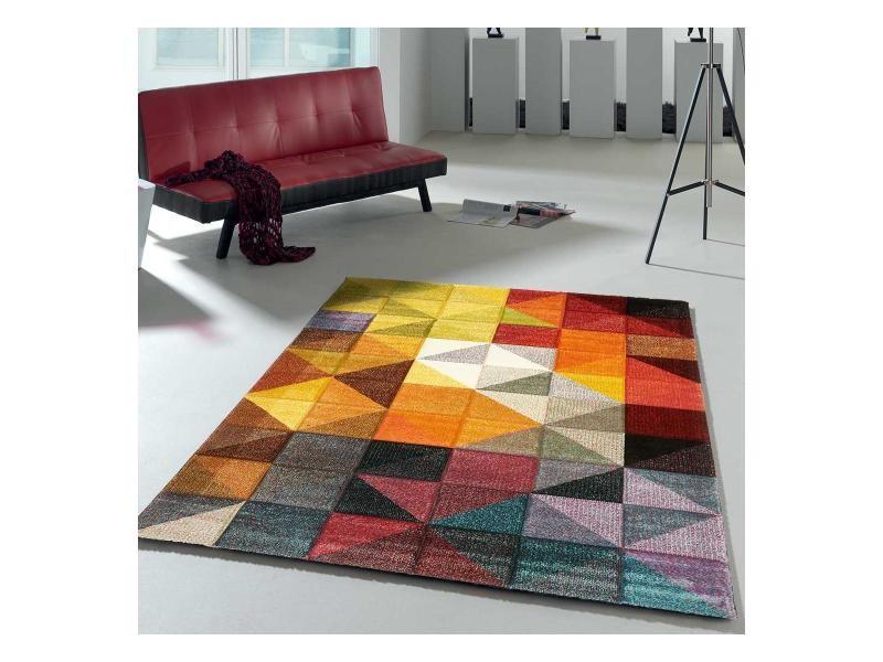 tapis design et moderne 40x60 cm rectangulaire marix multicolore entree adapte au chauffage par le sol