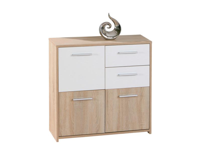 commode buffet bahut petit meuble de rangement 3 portes 2 tiroirs chene blanc