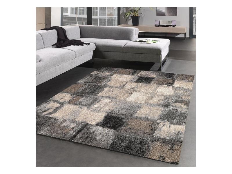tapis design et moderne 120x170 cm rectangulaire carreaulegant 01 gris salon adapte au chauffage par le sol