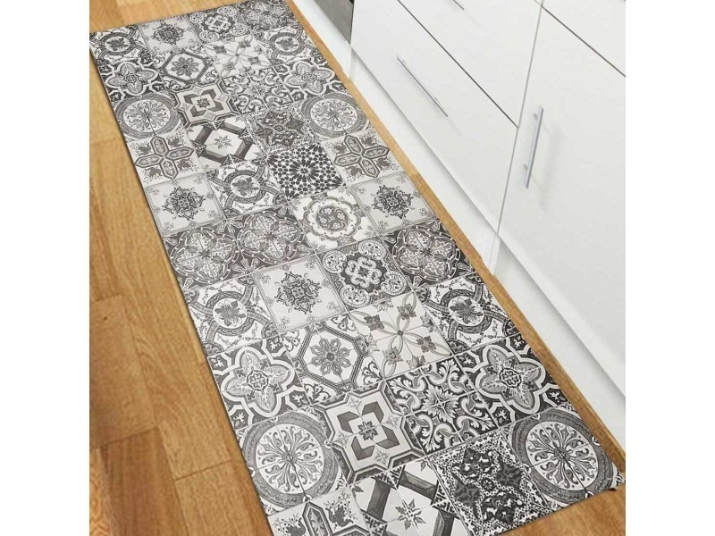 tapis pour couloir vinyle porto gris 50 x 100 cm fabrique en europe tapis de salon moderne design par unamourdetapis