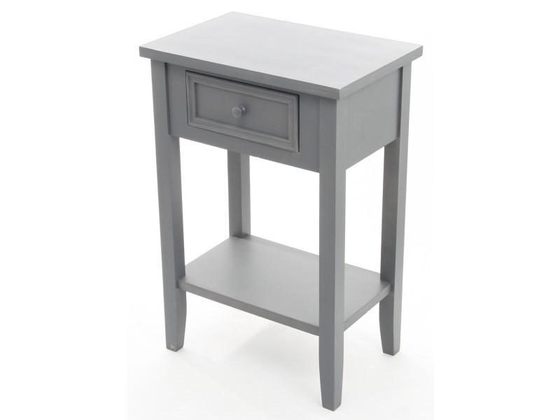 chevet 1 tiroir gris felix hauteur 60 x profondeur 30 x largeur 45 cm pegane