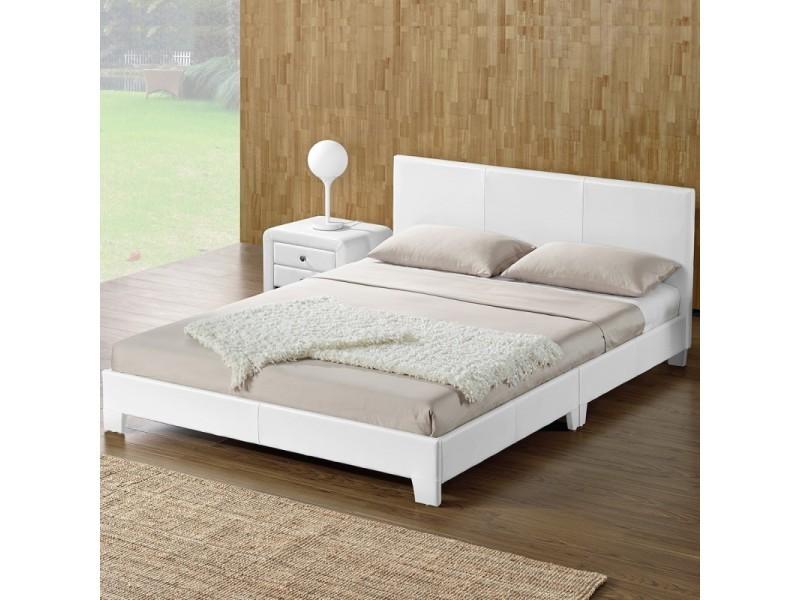 lit adulte complet tete de lit cadre de lit simpli blanc 160x200
