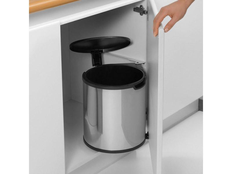 poubelle de porte a fixer avec seau interieur 15 litres built in