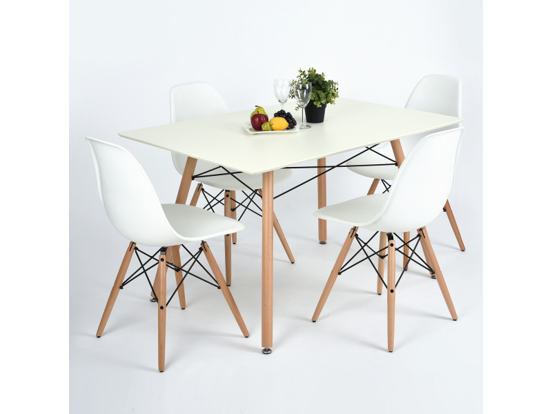 furniturer table a manger rectangulaire 4 places scandinave blanche