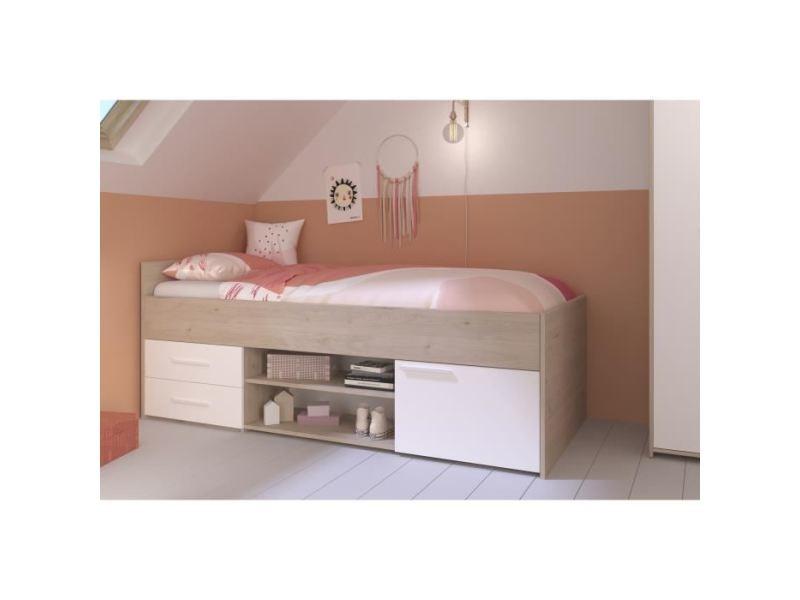 structure de lit liam lit enfant avec rangement decor chene jackson et blanc l204 cm x l95 x h79 cm