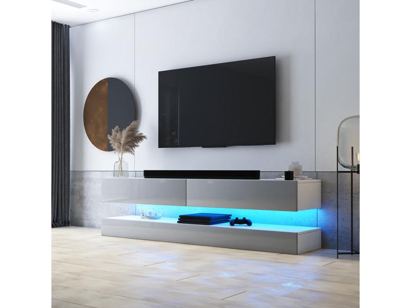 meuble tv suspendu hylia 140 cm blanc mat gris brillant avec led style moderne