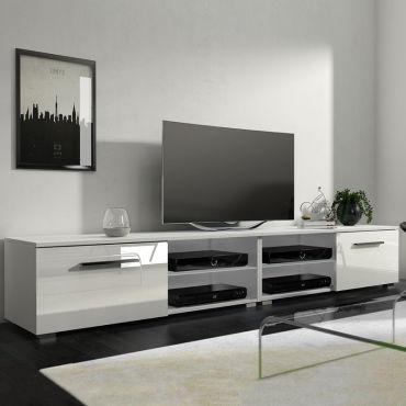 meuble tv banc tv tenus double 200 cm blanc mat blanc brillant sans led w74306064