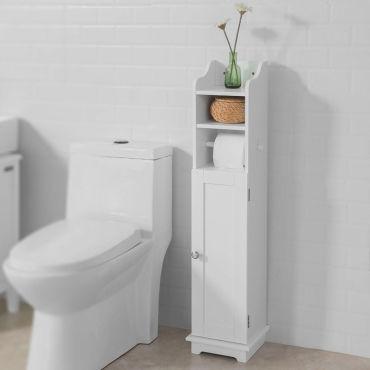 Support Papier Toilette Armoir Toilettes Porte Brosse Wc En Bois Blanc Frg177 W Sobuy Vente De Armoire Colonne Etagere Conforama