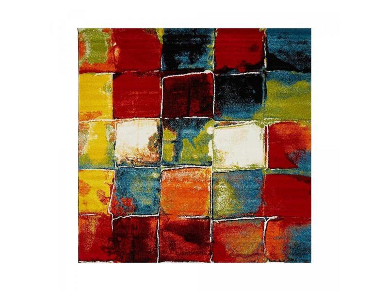 tapis design et moderne 160x160 carre cm carre belo 2 multicolore salon adapte au chauffage par le sol