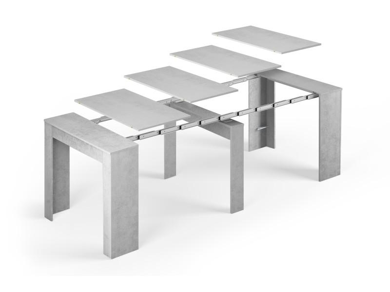 table console extensible alga rectangulaire avec rallonges jusqu a 237 cm pour salle a manger et sejour gris beton jusqu a 10 personnes