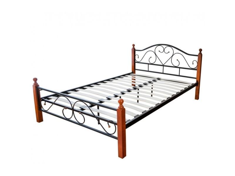lit adulte 2 personnes en metal et bois 180 x 200cm avec sommier a lattes lit06051