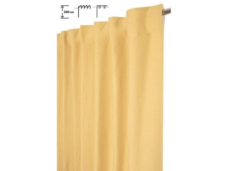rideau tamisant 140 x 300 cm a galon fronceur pattes cachees grande hauteur effet coton uni jaune vert