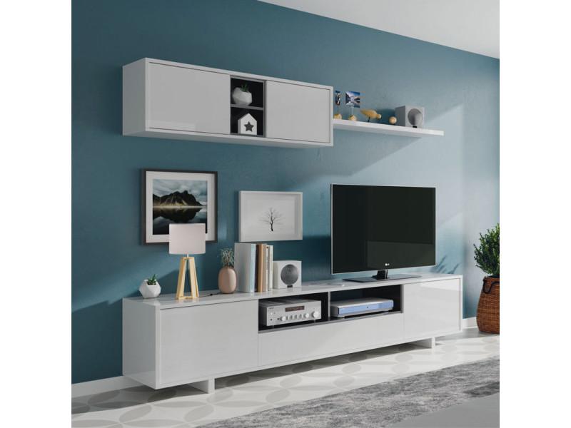 composition tv blanc gris anthracite irvine meuble tv l 200 x l 41 x h 46 etagere murale l 200 x l 29 x h 35 cm