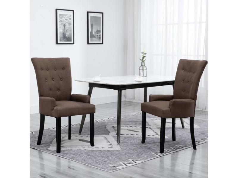 joli fauteuils et chaises famille funafuti chaise de salle a manger avec accoudoirs marron tissu