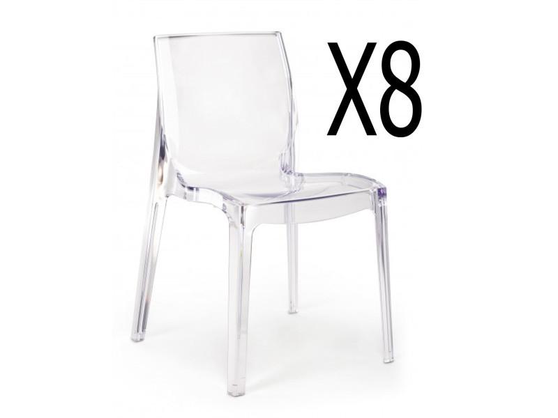 lot de 8 chaises transparentes l 52 x p 52 x h 81 cm pegane