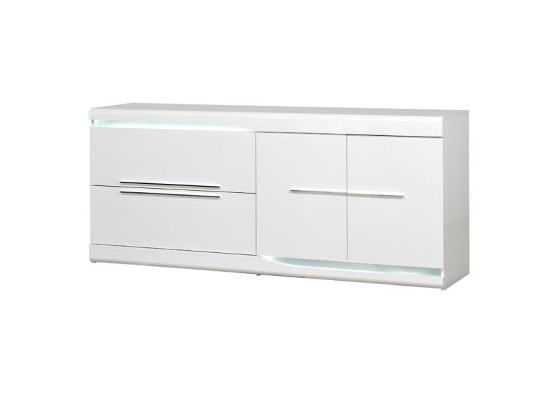 buffet 2 portes 2 tiroirs blanc laque brillant a leds pesmes l 200 x l 51 x h 87 neuf