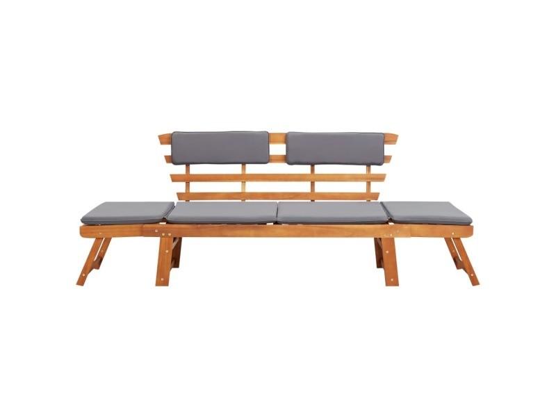 icaverne bancs de jardin reference chaise longue avec coussin 2 en 1 190 cm bois solide d acacia