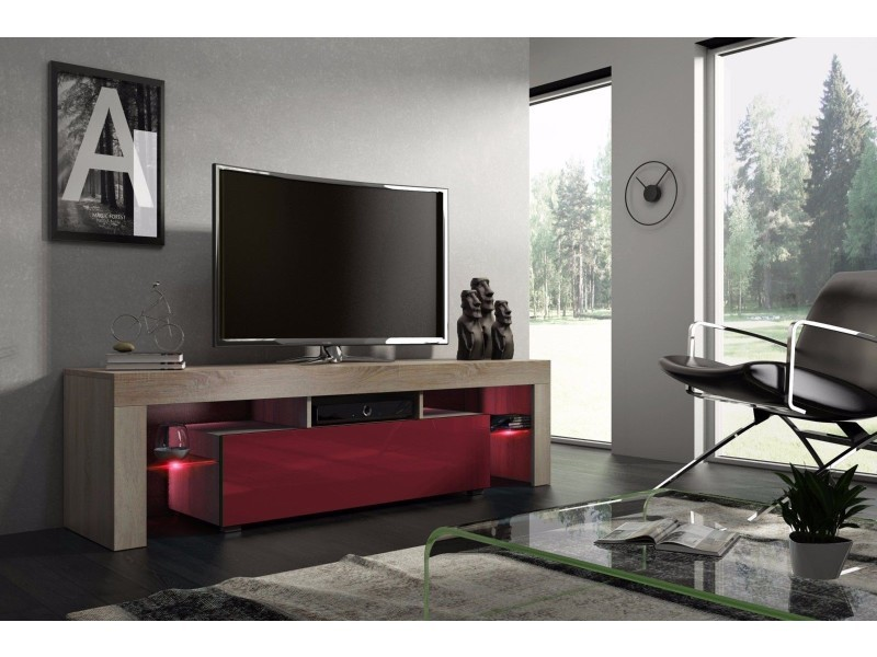 meuble tv 160 cm chene mdf et bordeaux laque avec led rgb
