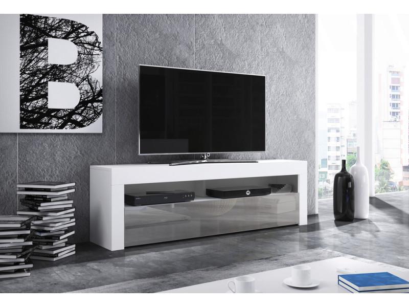 max meuble tv style contemporain salon sejour 140x50x35 cm meuble de television avec rangements finition mat gloss blanc gris