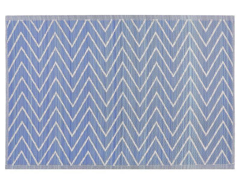 tapis exterieur bleu a motif zigzag 120 x 180 cm balotra