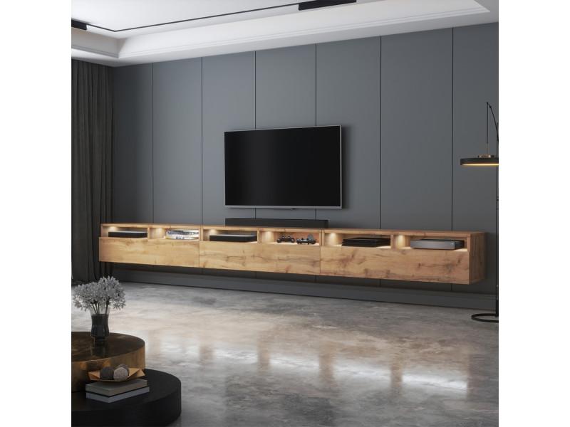 meuble tv rednaw 300 cm chene wotan avec led