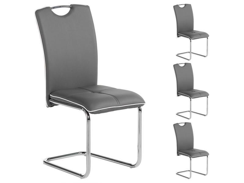 lot de 4 chaises de salle a manger eleonora avec poignee integree et pietement chrome revetement en synthetique gris