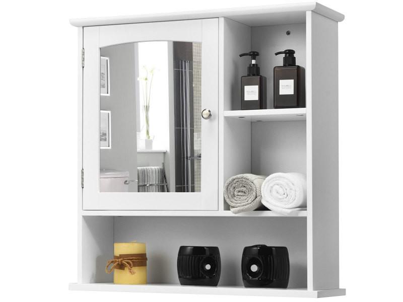 Giantex Armoire De Toilette Avec Miroir Organisateur De Rangement Avec Une Porte Miroir 60 X 18 X 63cm L X L X H Blanc Vente De Miroir De Salle De Bain Conforama