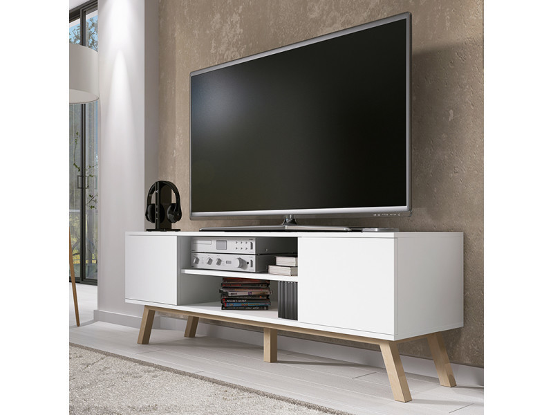 meuble tv vero bois 150 cm blanc mat pieds de hetre huile